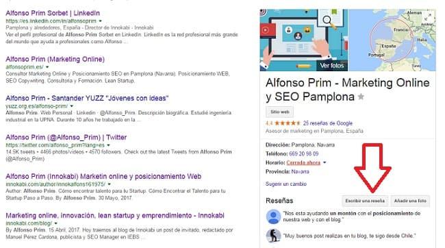 Escribir reseña google my business alfonsoprim.es