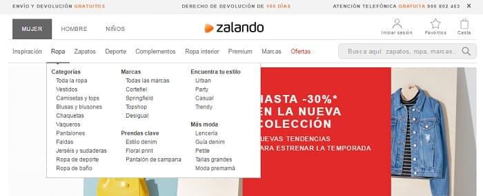 Estructura web zalando