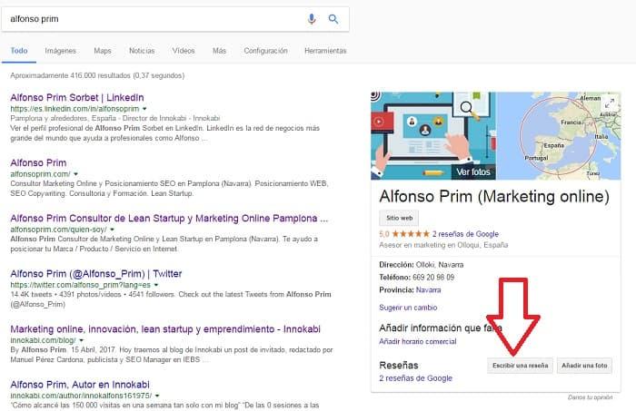 Google my business alfonsoprim.es