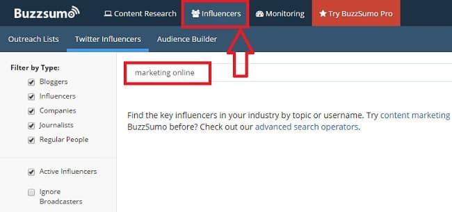 Buzzsumo para influencers