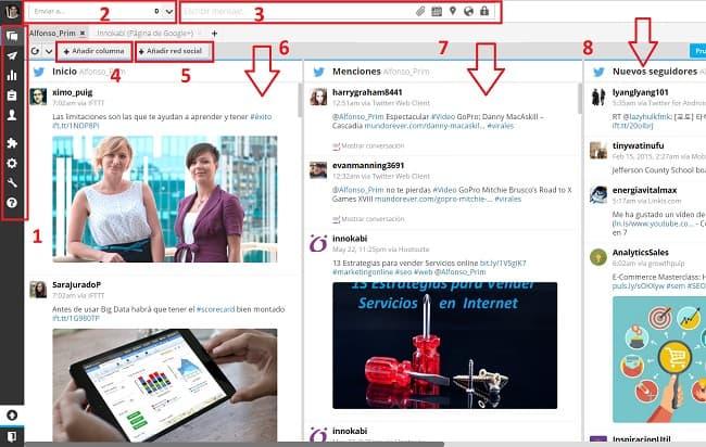 Panel de hootsuite para ahorrar tiempo gestion redes sociales