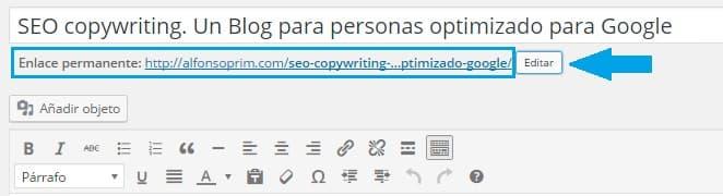 SEO Copywriter modificar URL alfonsoprim